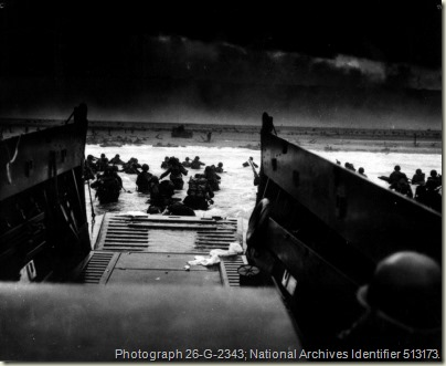 American soldiers landing on the coast of France under heavy Nazi machine gun fire.